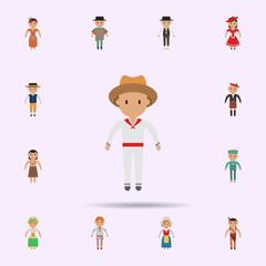 Colombian, man cartoon icon. Universal set of people around the world for website design and development, app development