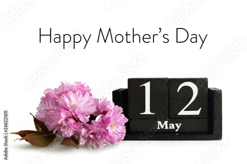 Mothers Day Greeting Card. Cherry blossom and calendar isolated on white background