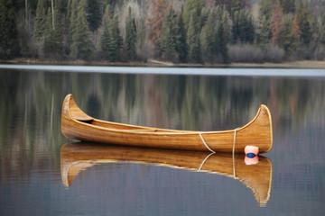 Canoe On Pyramid Lake, Jasper National Park, Alberta