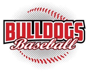 Bulldogs Baseball Design is a bulldogs mascot design template that includes team text and a stylized softball graphic in the background. Great for team or school t-shirts, promotions and advertising. - fototapety na wymiar