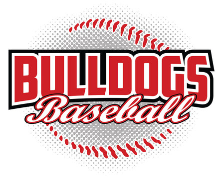 Bulldogs Baseball Design is a bulldogs mascot design template that includes team text and a stylized softball graphic in the background. Great for team or school t-shirts, promotions and advertising.