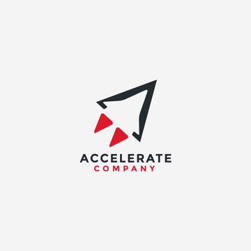 abstract  minimalist accelerate rocket logo icon vector template with negative space style on white background