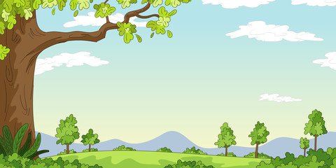 Wall Mural - Cartoon Landscape background. Vector illustration with separate layers.