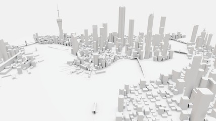 Three-dimensional landscape of the modern city. The huge layout of the metropolis. 3D rendering.