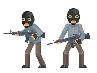 Weapon gun armed terrorist soldier threat evil greedily character flat design isolated vector illustration