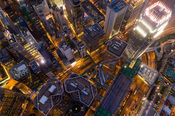Fototapete - Aerial view of Hong Kong urban city at night