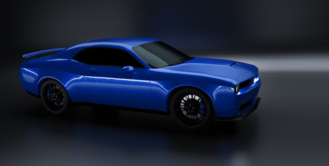 Front angle view of a generic blue brandless American muscle car on a black background . Transportation concept . 3d illustration and 3d render. Wall mural