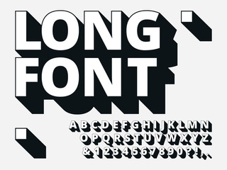 Long shadow font. Retro boldness 3d alphabet, old bold type and vintage cool typography hipster type lettering vector illustration set