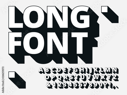 Long shadow font  Retro boldness 3d alphabet, old bold type