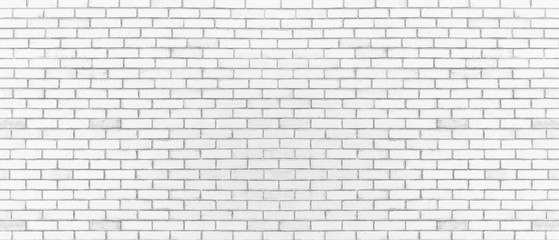 White color brick wall for brickwork background design . Panorama format .