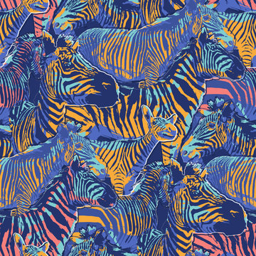 Graphic seamless repeated pattern of standing zebras