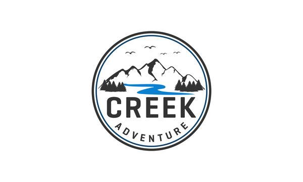 Outdoor adventure and mountain logo design. Retro design