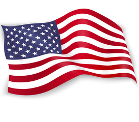 United States of America flag isolated on white background. USA star-spangled banner. Memorial Day. 4th of july. Independence day. Waving flag design for poster, flyer, card. Vector illustration
