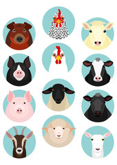 livestock faces set