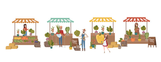 Farmer's market poster with people selling and shopping at walking street, organic fruits and vegetables, cartoon flat design. Editable vector illustration