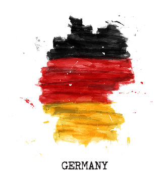 Germany flag watercolor painting design . Country map shape . Sports team and german unity day concept ( 3 October ) . Vector