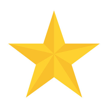 yellow star in flat style white background