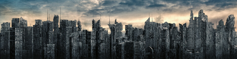 Science fiction city dystopia panorama / 3D illustration of futuristic post apocalyptic sci-fi city ruins under bright sky