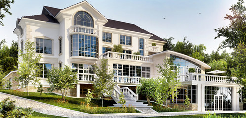 Very beautiful luxury mansion. Exterior of a large white house Wall mural