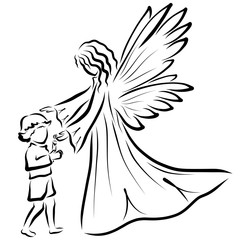 Angel guards the flame of a candle in the hands of a child