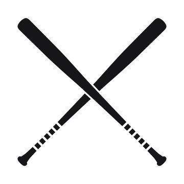 Baseball Crossed Bats vector illustration, isolated icon