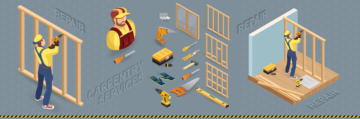 Carpenter builds a wooden construction. Vector isometric illustration.