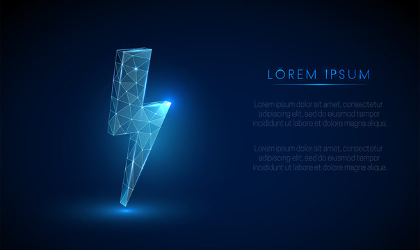 Abstarct low poly lightning. Vector arrow wireframe