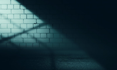 Empty scene background. Incident light from a window on an empty brick wall. Dark abstract background