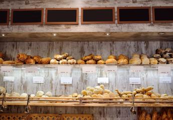 Printed kitchen splashbacks Bread Freshly baked gourmet bread for sale in Italian bakery.