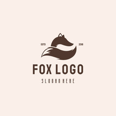 Simple Fox logo hipster retro vintage vector template