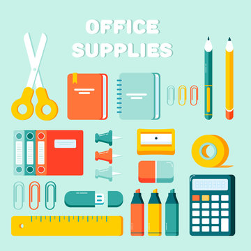 Office supplies set. Calculator, eraser, pens, scissors, ruler, notebook, pin, marker, sharpener, flash drive, documents, tape. Office and student items, back to school objects