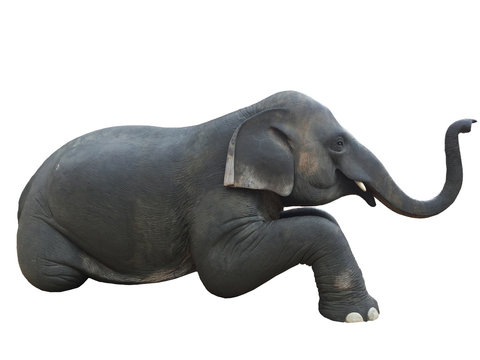 Elephant sculpture in sitting figure, made from cement. Isolated on  white background