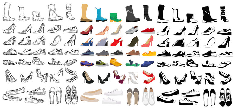 set, collection of men's and women's shoes
