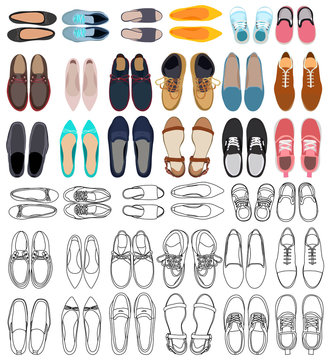 vector, isolated, set, collection of men's and women's shoes, top view