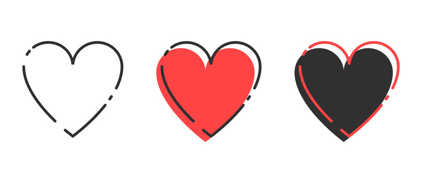 Love icon. Red Heart with black linear Heart in trendy design. Heart icon