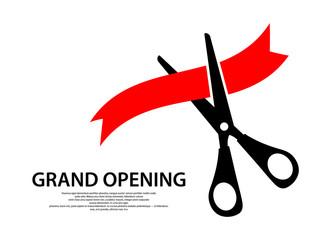 Scissors cut the ribbon. Grant opening icon. Vector illustration