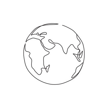 One line drawing planet.