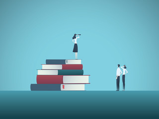 Education and professional career future vector concept with student on top of books with telescope. Symbol of knowledge, business, learning, studying and research.