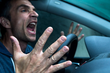 Angry driver in his car