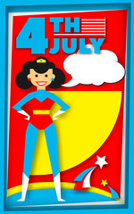 Super hero poster in retro style for July 4
