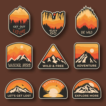 Set of nine mountain travel emblems. Camping outdoor adventure emblems, badges and logo patches. Mountain tourism, hiking. Nature labels in vintage style