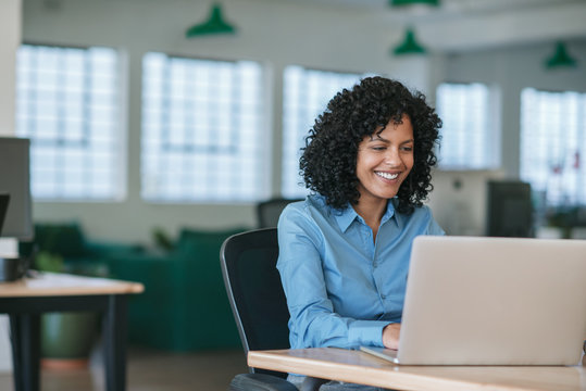 Smiling young businesswoman working on a laptop at her desk