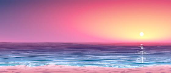 vector calm ocean shore at sunset