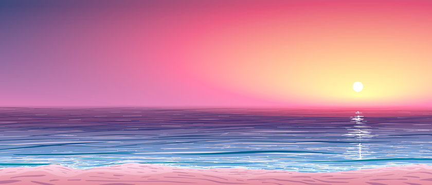 vector calm ocean shore at sunset