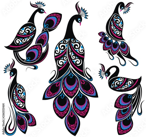 Peacock drawing fantasy birds Collection of Peacocks