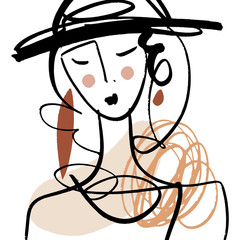Girl fashion sketch. Simple hand drawn line portrait face art. Print for clothes, textile and other. Vector illustration