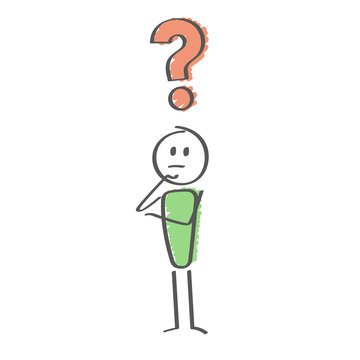 Stick Figure - man with question mark