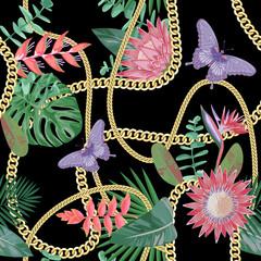 Modèle sans couture de chaînes d& 39 or avec des fleurs tropicales.