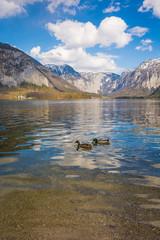 Wolken spiegeln sich auf dem See in den Bergen von Österreich
