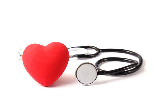 heart and stethoscope on white background